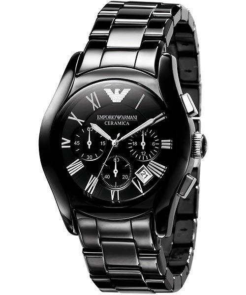 【ARMANI亞曼尼】經典陶瓷三眼計時腕錶\情侶款(AR1400\AR1401)-黑 3