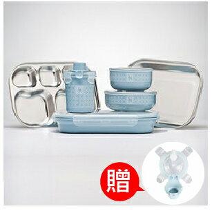 【本月贈市價$160-杯上蓋】美國【Kangovou】小袋鼠不鏽鋼安全餐具組-野莓藍 (贈精美禮盒+紙袋) 0
