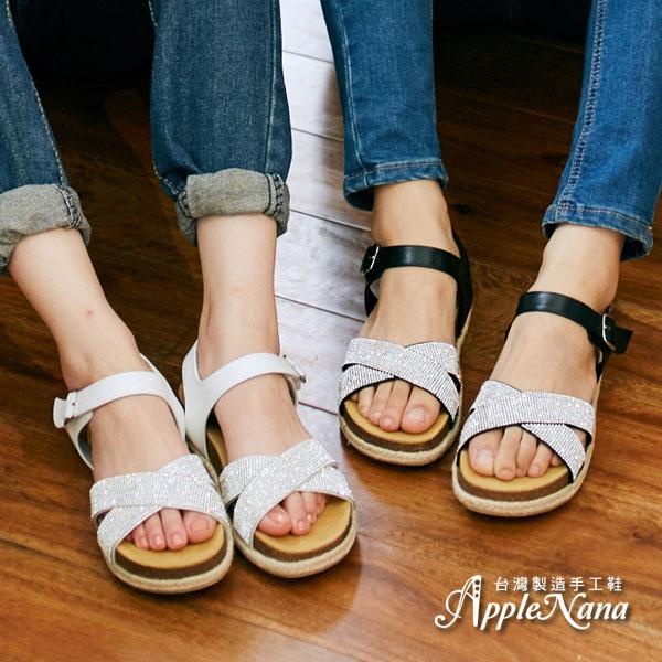 AppleNana。本季最流行舒適腳型交叉水鑽涼鞋【QC140091380】蘋果奈奈 0
