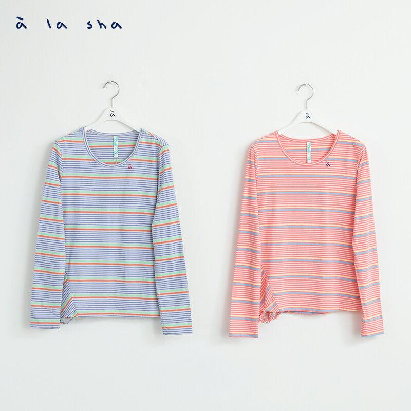 a la sha Qummi 彩條不對稱剪接長袖T恤 1