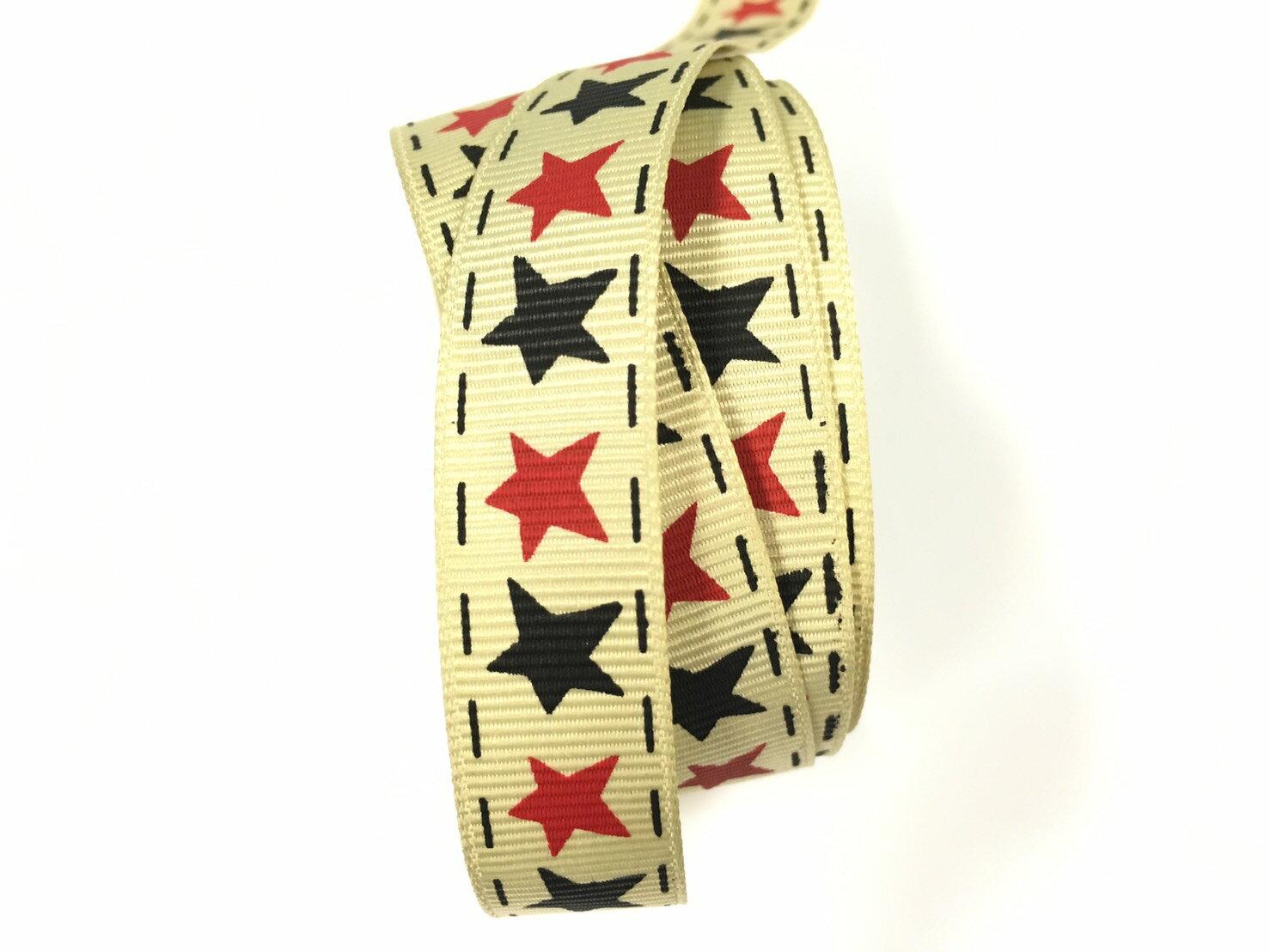 羅紋緞帶-星星 15mm 3碼裝 - 限時優惠好康折扣