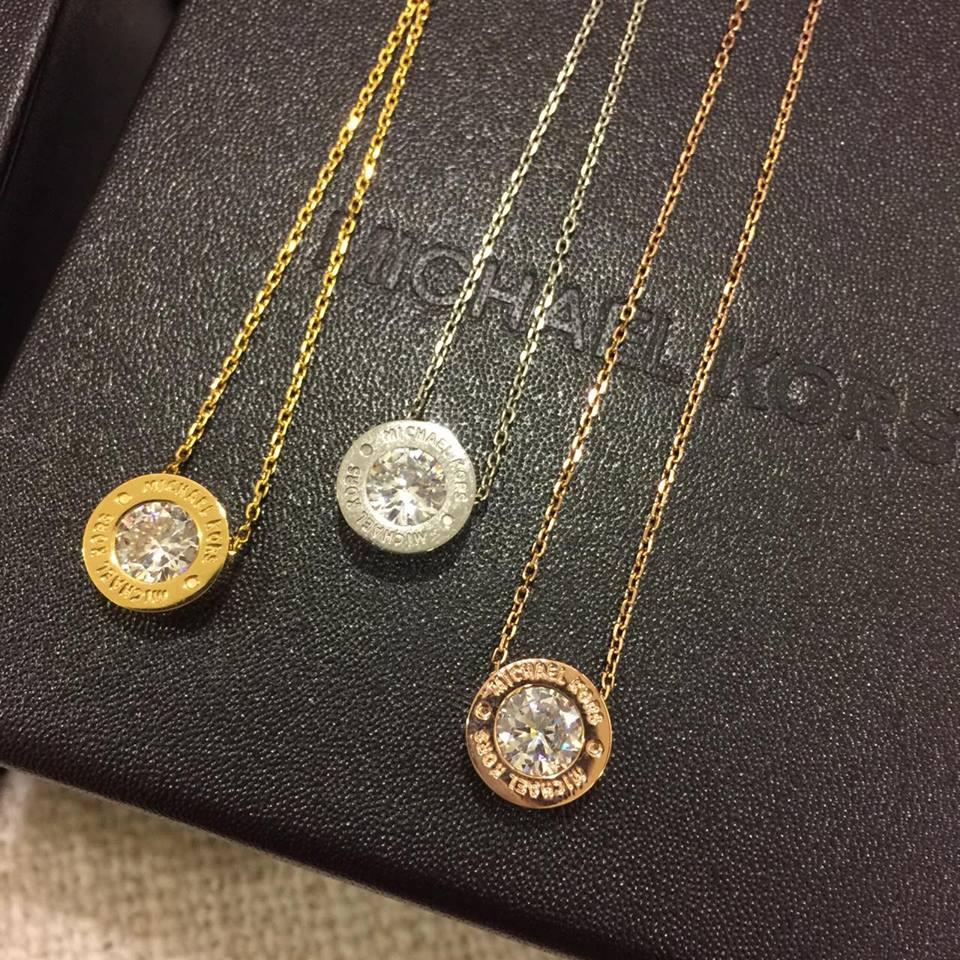 【MICHAEL KORS】MK 正品 Michael Kors Logo Crystal Necklace 項鍊 (金\銀\玫瑰金 共3色) 3