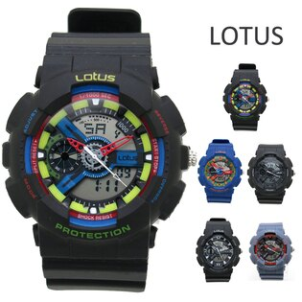 《好時光》百貨專櫃品牌 LOTUS 大錶面 前衛潮流 防水 雙顯示 電子錶/男錶/運動錶( 似G-shock風格)
