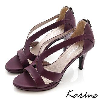 karine(MIT台灣製)全真皮羅馬女神高跟涼鞋-野莓紫
