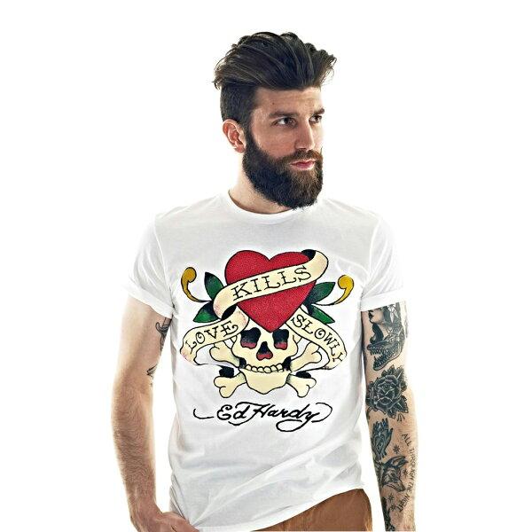 美國百分百【全新真品】ED HARDY 男 愛殺 T-shirt 短袖 上衣 白 水鑽 經典款 T恤 M號 F249