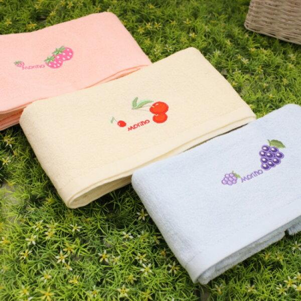 【MORINO摩力諾】素色水果貼布繡毛巾