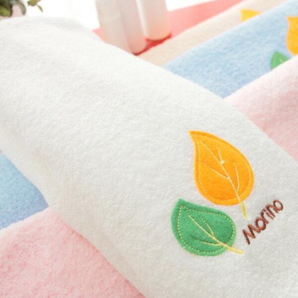 【MORINO摩力諾】美國棉素色貼布繡方巾--白色