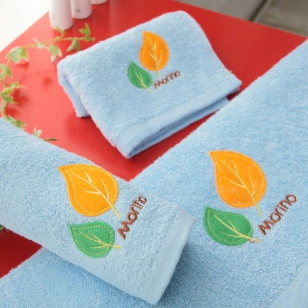 【MORINO摩力諾】美國棉素色貼布繡方巾--粉藍色