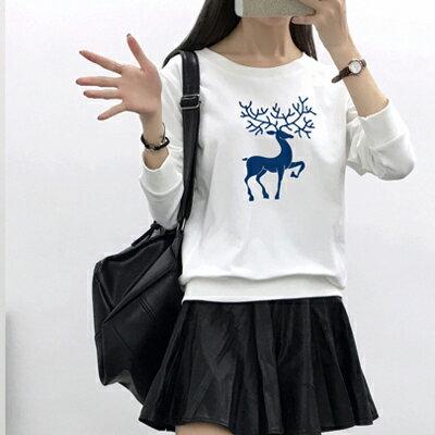 ◆快速出貨◆刷毛T恤 圓領刷毛 情侶T恤 暖暖刷毛 MIT台灣製.藍色鹿【YCS103】可單買.艾咪E舖 2