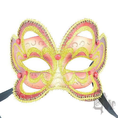 ~Barocco Nuts~^~面具^~派對系列:紅面金紋 蝶面綁帶 火焰蝴蝶^(義大利
