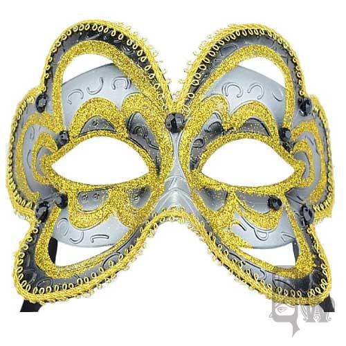 ~Barocco Nuts~^~面具^~派對系列:黑面金紋 蝶面綁帶 靜謐蝴蝶^(義大利