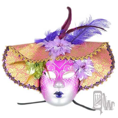~Barocco Nuts~^~面具^~派對系列:紫漸層面銀紋 大沿帽全臉綁帶面具 貴族仕