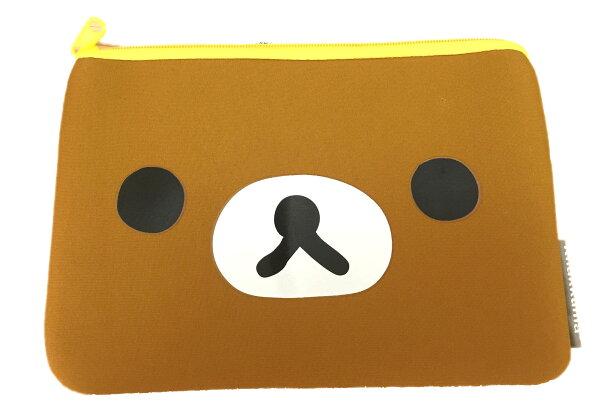 【真愛日本】16072700024拉拉熊潛水布單拉筆袋-大臉咖    拉拉熊 Rilakkuma   筆袋