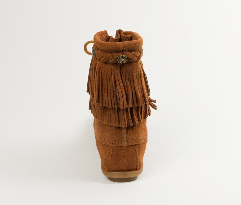 【Minnetonka 莫卡辛】棕色 -純手工雙層流蘇短靴 5