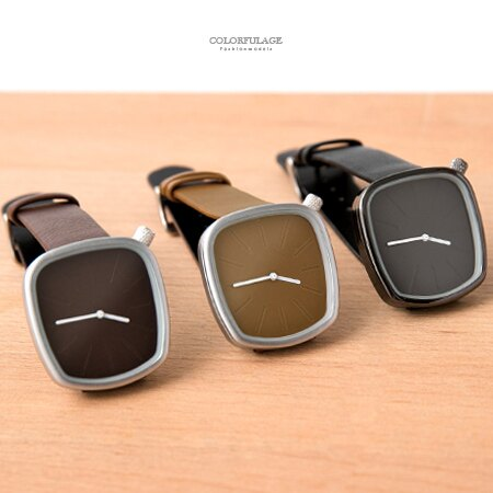 手錶 質感霧面梯形錶框造型腕錶 隱藏刻度設計款 柔軟皮革錶帶 柒彩年代【NE1890】單支售價 0