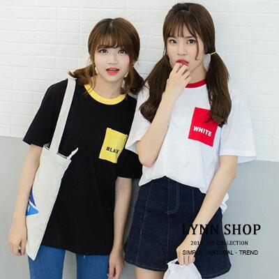 Lynn Shop ~1500222~短袖T恤 閨蜜裝 字母black  white撞色印