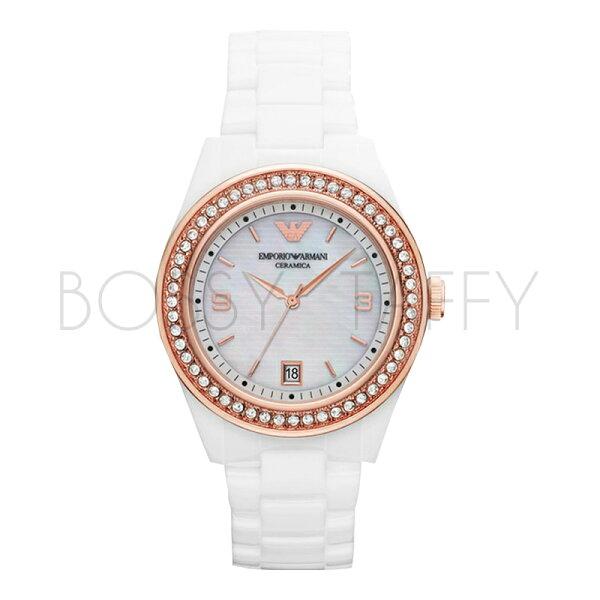 AR1472 ARMANI 亞曼尼 石英鑲水晶時尚陶瓷錶 女錶