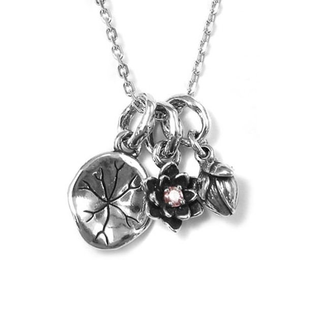 【海外訂購】【KONRON】寶石露水蓮花粉鑽純銀項鍊 45cm(KRP0549-Pd  0263920000) 1
