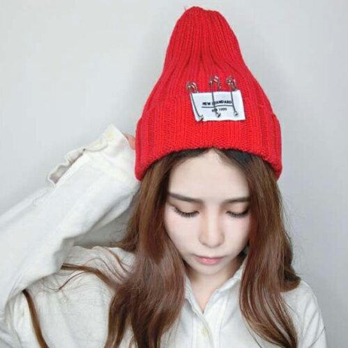 毛帽 針織帽 毛帽 貼布 螺紋反褶毛帽【QI1022】 BOBI  09/01 0
