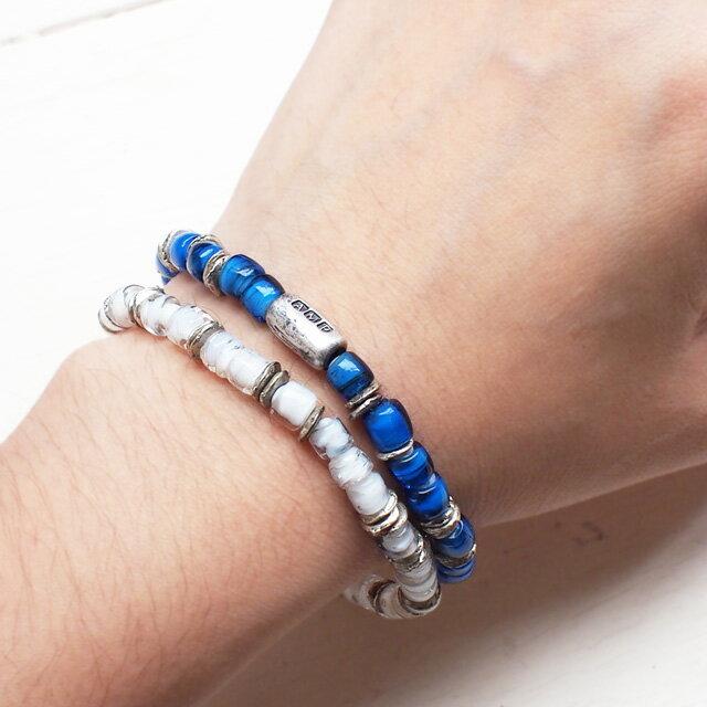 【海外訂購】【amp japan】White Heart 藍色玻璃珠手環(AMP-14AH-440BL  0782900000) 3
