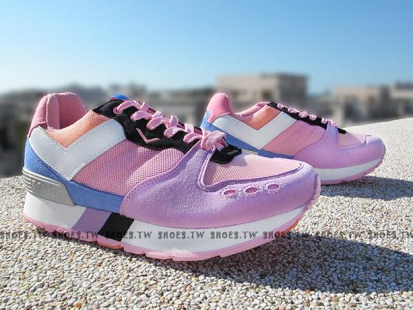 《超值7折》Shoestw【53W1YK67PK】PONY YORK 復古慢跑鞋 內增高 紫桃紅 增高鞋