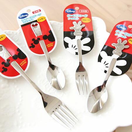 日貨 正版迪士尼 米奇不鏽鋼湯匙/叉子 餐具 兒童餐具 環保 湯匙 叉子【N100911】