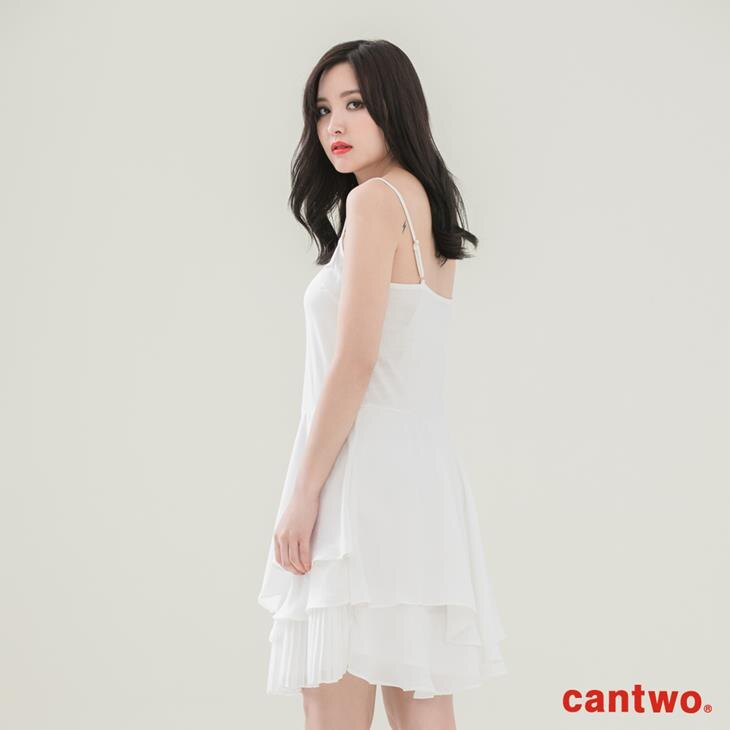 cantwo壓摺荷葉內襯洋裝(共二色) 3