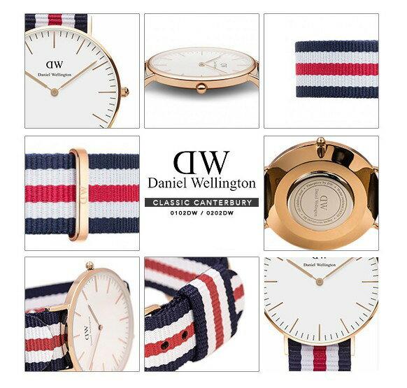 瑞典正品代購 Daniel Wellington 0102DW 玫瑰金 尼龍 帆布錶帶 手錶腕錶 40MM 4