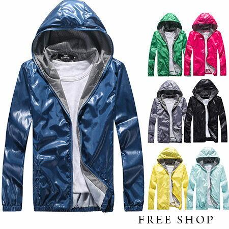 Free Shop~QMD50062~ 韓式作風潮流風格百搭格紋內裡防風外套連帽外套風衣外