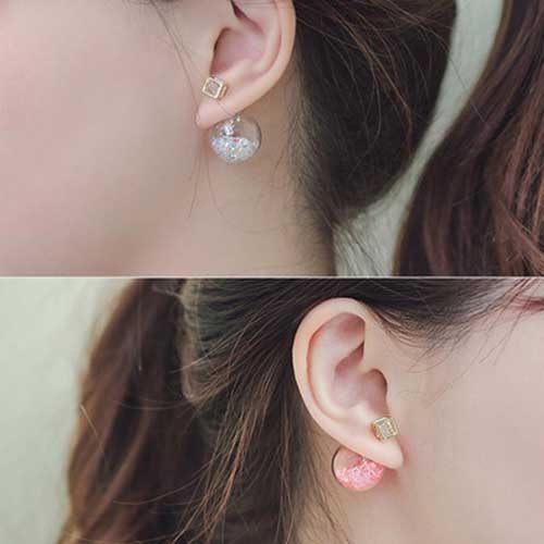 PS  Mall 日韓新款氣泡耳釘 透明彩珠前後雙面耳釘 耳環 耳飾【G1908】