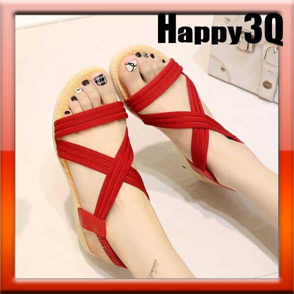 露趾一字交叉裸空綁帶低跟平底拖鞋涼鞋-黑/紅/白/藍/棕35-39【AAA0515】
