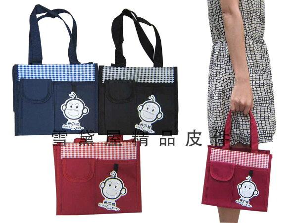 ~雪黛屋~豆豆猴 提袋大容量餐袋小容量才藝袋手提袋簡單袋上學書包以外放置教具品雨衣傘便當袋台灣製造#5649(小)