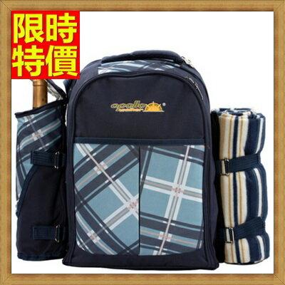 野餐包+2人餐具組雙肩後背包-藍色調旅行袋地墊便當保溫多袋野餐包+68ag11【獨家進口】【米蘭精品】