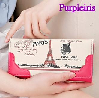 【鳶尾紫】女士錢包 巴黎鐵塔造型 簡約時尚長夾 手包 錢夾