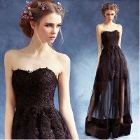 時尚洋裝 小禮服推薦到天使嫁衣【AE2412】黑色美胸蕾絲下擺透視紗長禮服˙預購訂製款