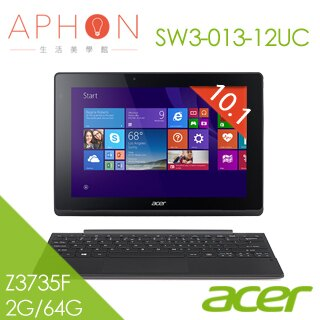 【Aphon生活美學館】acer Switch 10 E SW3-013-12UC 10.1吋 Win8.1 變形平板筆電(Z3735F/2G/64G/灰)-送micro HDMI線+防震內袋