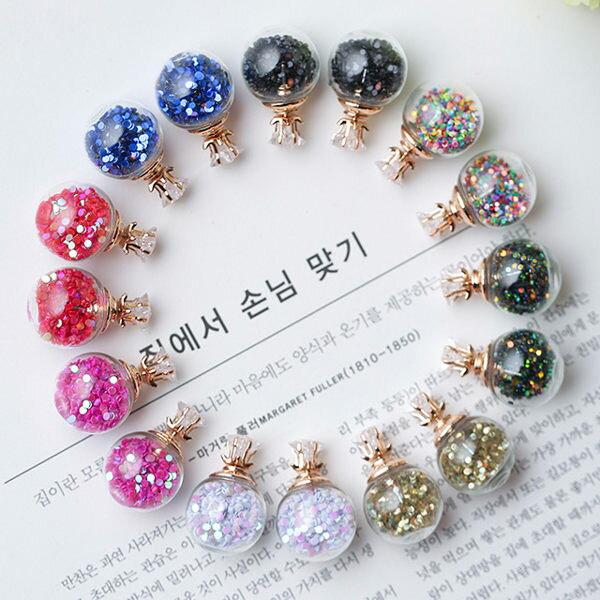 PS Mall 五角星星鋯石大小氣泡玻璃球水晶雙面耳釘 耳環 耳飾【G1902】