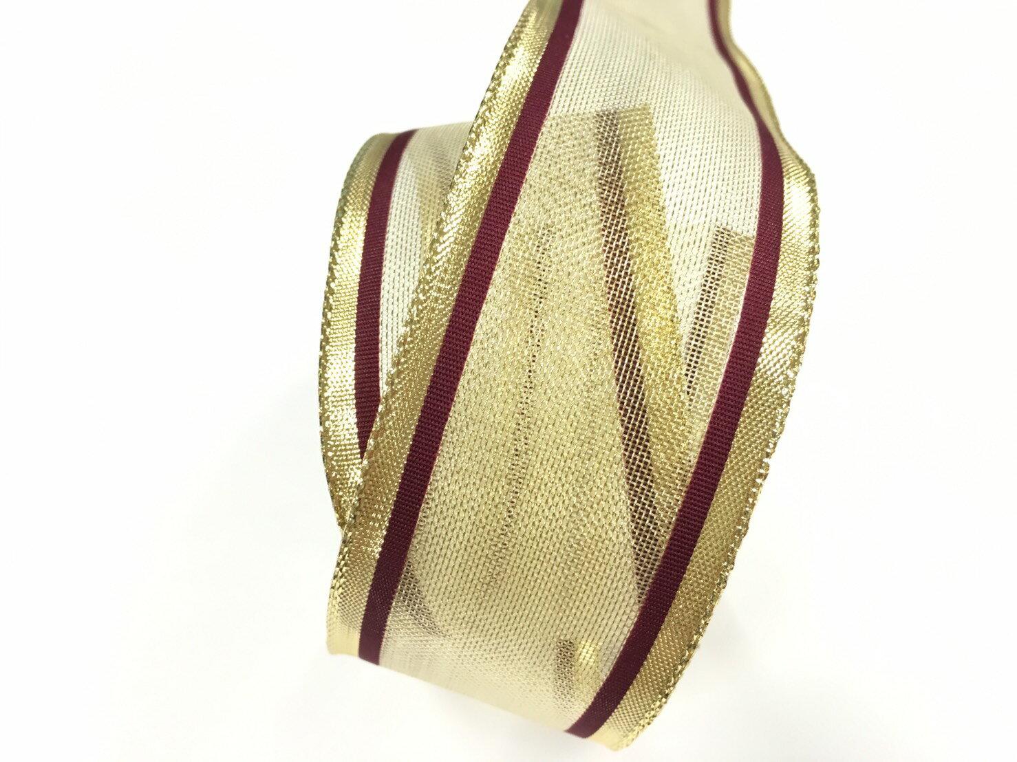 金屬彩邊緞帶+鐵絲緞帶 38mm 3碼 (4色) 1