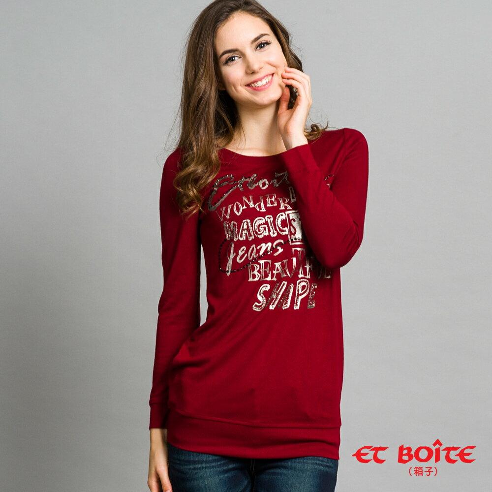 【ET BOîTE 箱子】印字鑽長版T恤 0