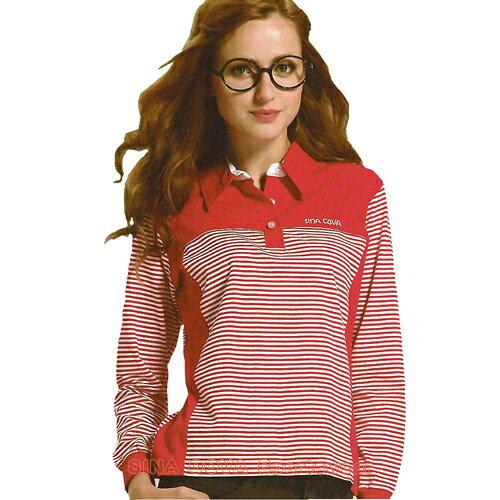 【義大利 SINA COVA】女版運動休閒吸濕排汗電腦條紋長POLO衫(紅#SW813A) - 限時優惠好康折扣