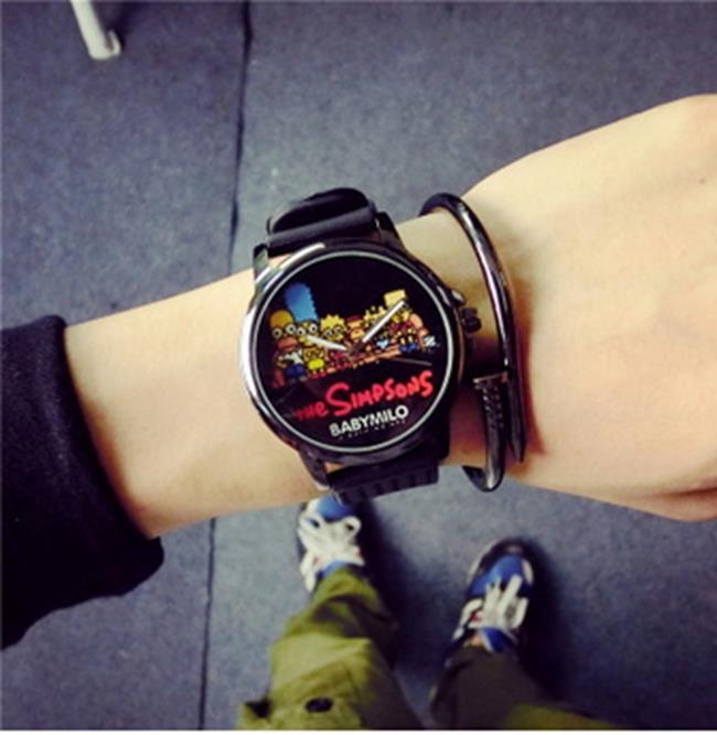 50^%OFF~H014060WAH~大錶盤情侶塗鴉手錶一對 潮流學生手錶潮男女士中性石英