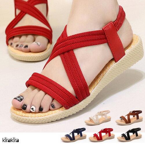 楔型涼鞋-SALE-kirakira-時尚韓風彈性交叉繫帶小坡跟涼鞋(版型偏小)-3色-現+預【011600297】