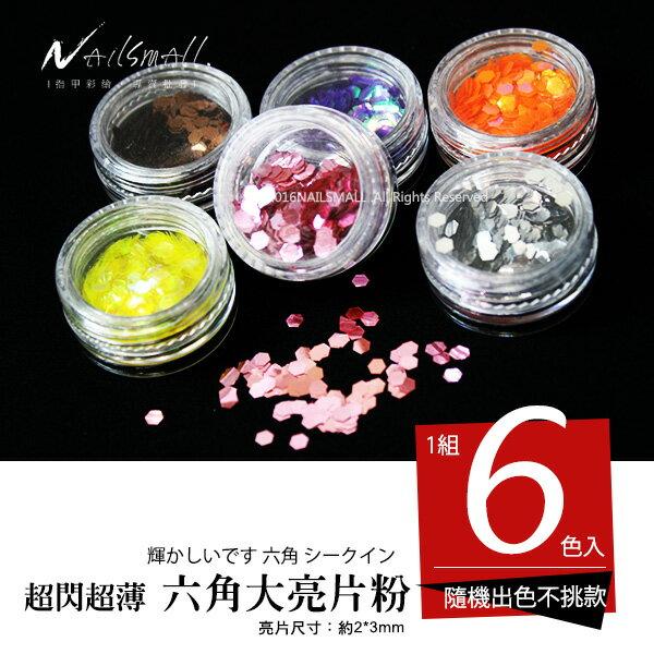 6入亮片粉【大亮片】(每色約3g) 顏色隨機出貨 $99 指甲彩繪 凝膠水晶甲夾層閃粉