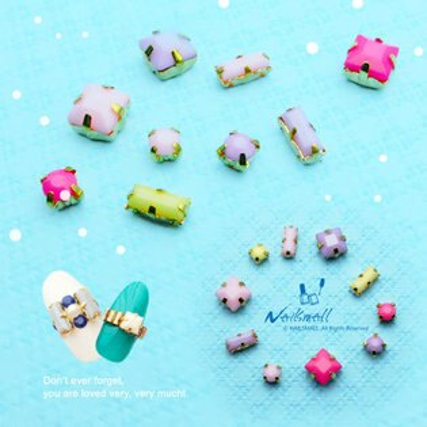 帶托爪鑽糖果色寶石邊框底座(3顆/包) (CC系列)