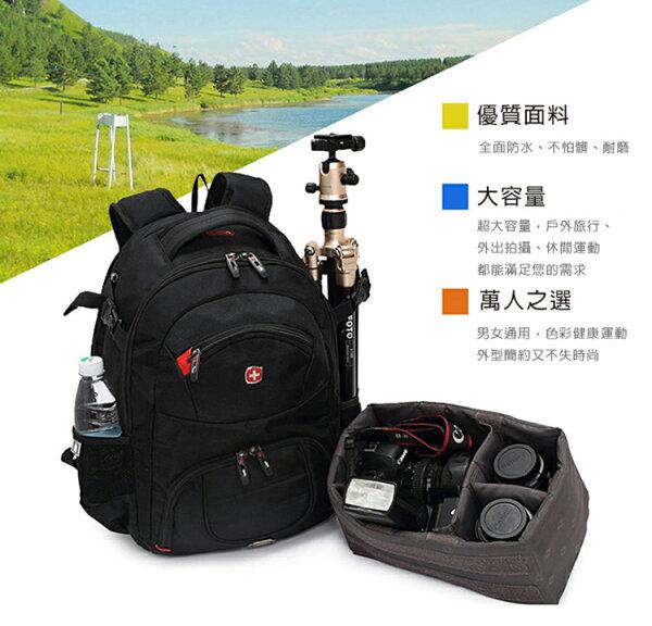 攝彩@瑞士軍刀雙肩相機包 可放平板/筆電...上層可放置物處/下層可放相機及鏡頭(內膽獨立式.可抽出)