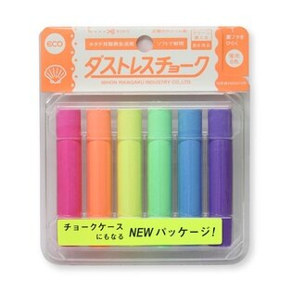 【Kitpas】日本超人氣 環保安全  無塵螢光粉筆 6色 DCK-6-6C