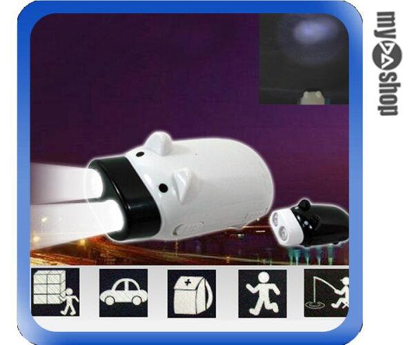 《DA量販店B》手壓式充電 2LED燈 豬造型手電筒 免電源 環保 緊急照明(17-110)