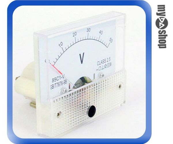 《DA量販店F》全新 直流電壓計 電壓表 指針 盤用方型 85C1-V 0~50V CLASS-2.5(34-115)