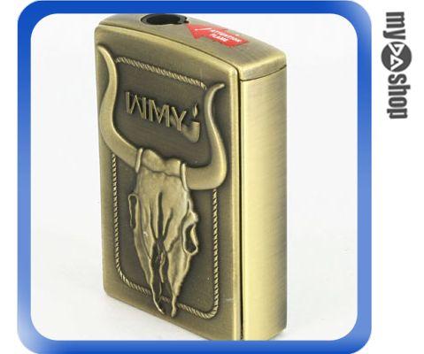 《DA量販店A》公牛浮雕 側壓式 電子式 噴射火焰 打火機 可重複填充瓦斯使用 (37-285)
