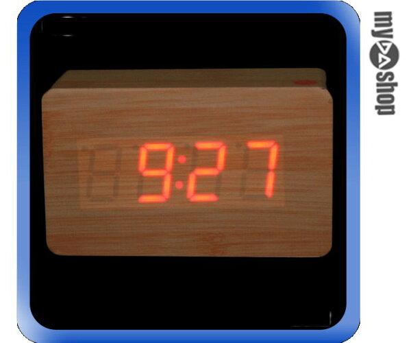《DA量販店》木頭時鐘 木質 原色 實木 紅光 LED 電子鐘/時鐘/鬧鐘/溫度計 (59-1440)